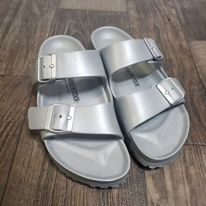 Birkenstock EVA Strap Sandals Silver w sz 9 M sz 7